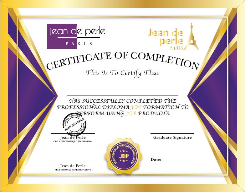 Jean de Perle Gold Certificate